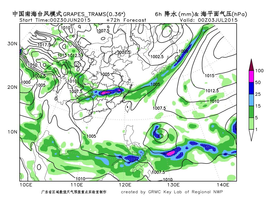 从模式的海平面气压和6小时降水预报分布可见图片